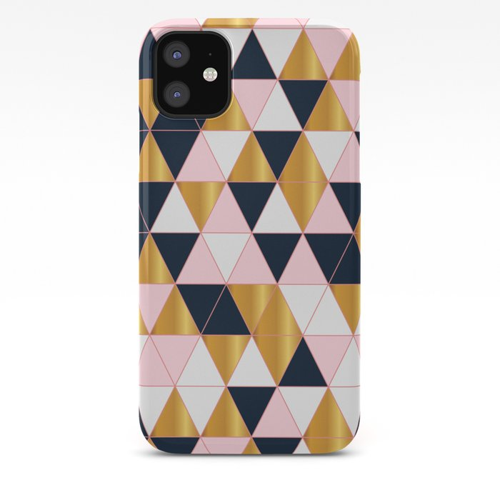 Abstract Seamless Geometric Pink Gold Navy Triangle Pattern Iphone Case By Bellalifestyle