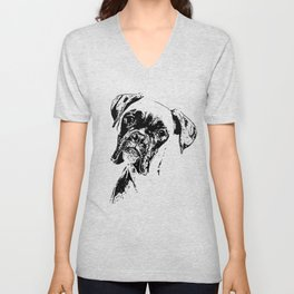 BOXER DOG FACE product - DOG LOVERS BOXER DOG GIFT design Unisex V-Neck