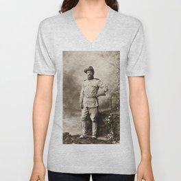 Col. Theodore Roosevelt, in Rough Rider Uniform Unisex V-Neck