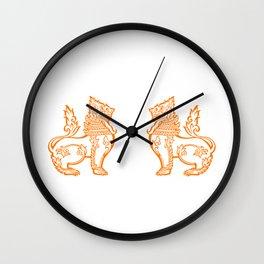 Orange Burmese Lion Wall Clock