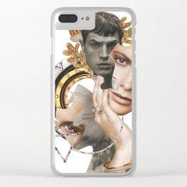 Papercollage Golden Oak Love by Lenka  Laskoradova Clear iPhone Case