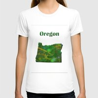 oregon T-shirts featuring Oregon Map by Roger Wedegis