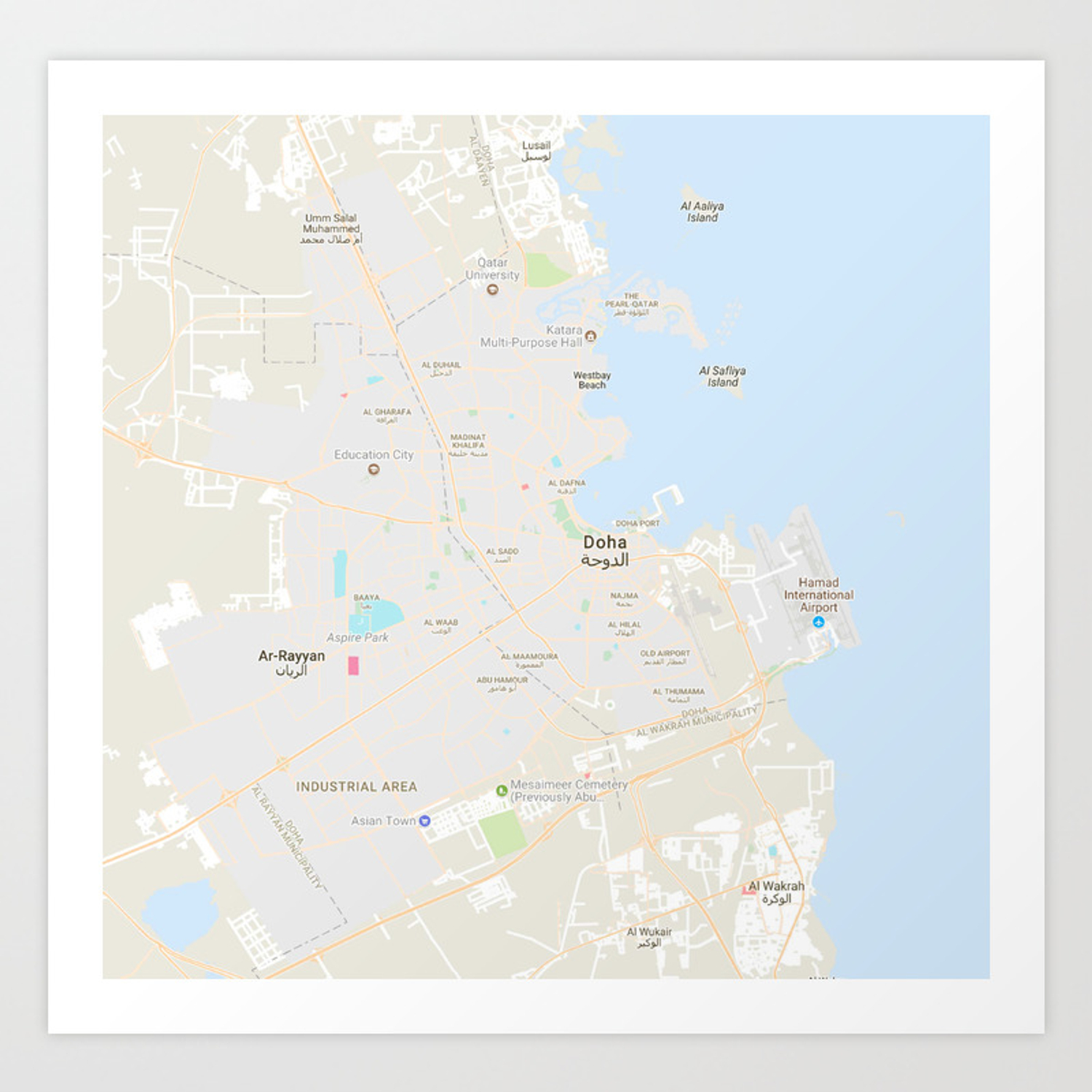 Minimalist Modern Map of Doha, Qatar 9 Art Print on tanzania map, united arab emirates map, al udeid air base, middle east map, dead sea map, bahrain map, doha corniche, qatar airways, dushanbe map, qatar map, riyadh map, sana'a map, al jazeera, ankara map, kuwait map, abu dhabi, education city, world map, abu dhabi map, manama map, dubai map, mosul map, medina map, kuwait city, doha international airport, damascus map, jerusalem map, souq waqif, baghdad map, aspire tower,