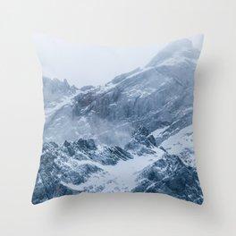 Mountains snow and fog Throw Pillow