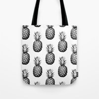 pinapple Tote Bags featuring Black & White Pineapple by CumulusFactory