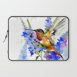 Alen's Hummingbird and Blue Flowers, floral bird design birds, watercolor floral bird art Laptop Sleeve