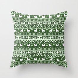 Biewer Terrier fair isle christmas green and white pattern minimal dog breed pet designs Throw Pillow
