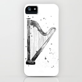Harp, black and white iPhone Case