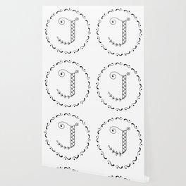J - decorative monogram. Wallpaper