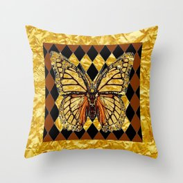 ABSTRACTED BROWN & GOLD MONARCH BUTTERFLY Throw Pillow