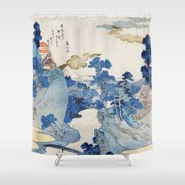 Fuji no Yukei by Utagawa Kuniyoshi (1798-1861) translated An Evening View of Fuji a traditional Japanese ukiyo-e style  of the stream of Asazawa in spring with view of Mount Fuji from the hot springs at Hakone Shower Curtain