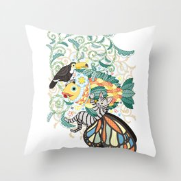 Plant fish and Butterfly cat and Toco toucan (remake) Throw Pillow