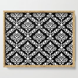 Prima Damask Pattern White on Black Serving Tray