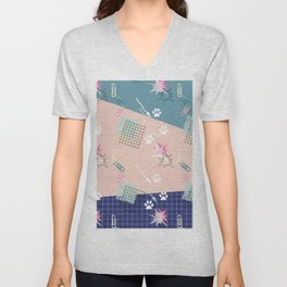 Memphis.Colorful retro pattern. Unisex V-Neck