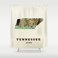 tennessee Shower Curtains featuring Tennessee state map modern by bri.buckley
