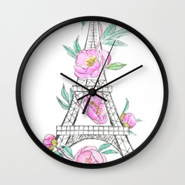 Eiffel tower and peonies Wall Clock