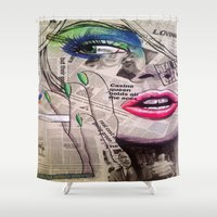newspaper Shower Curtains featuring NewsPaper  by cchelle135