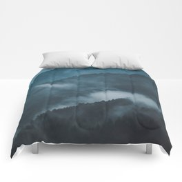 Layers of Mountain Valley Forest Fog Clouds Modern Landscape Comforters