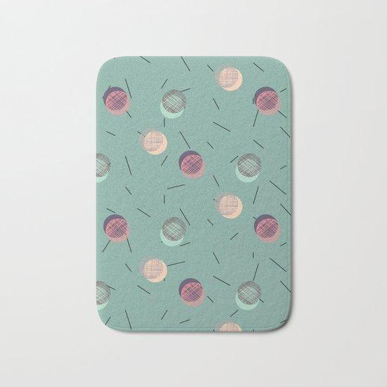 Scrawled Polka Dots and Sticks Bath Mat