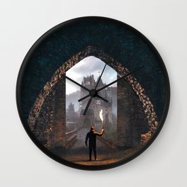 Portal to the Castle | Surreal Collage Wall Clock