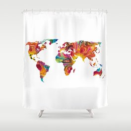 Map of The World 2 -Colorful Abstract Art Shower Curtain
