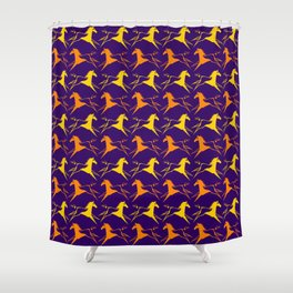 Horse Nation Purple Gold Shower Curtain