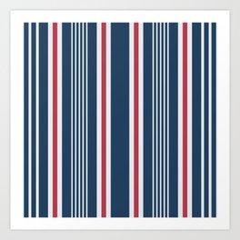 Classic navy nautical mixed stripes pattern Art Print