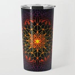 'Glowing Shamballa' Bohemian Mandala Black Blue Purple Orange Yellow Travel Mug
