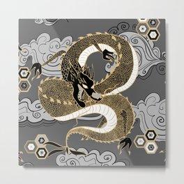 Serpent Dragon Gold and Gray Metal Print