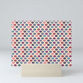 Retro Lips Pattern Mini Art Print