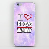 greys anatomy iPhone & iPod Skins featuring I love Greys Anatomy by QueenOfAwesome95