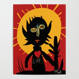 Life is a little man under the sun in a red sky African Art Poster