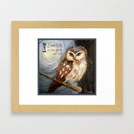 I Love You To The Moon And Back Owl Framed Art Print