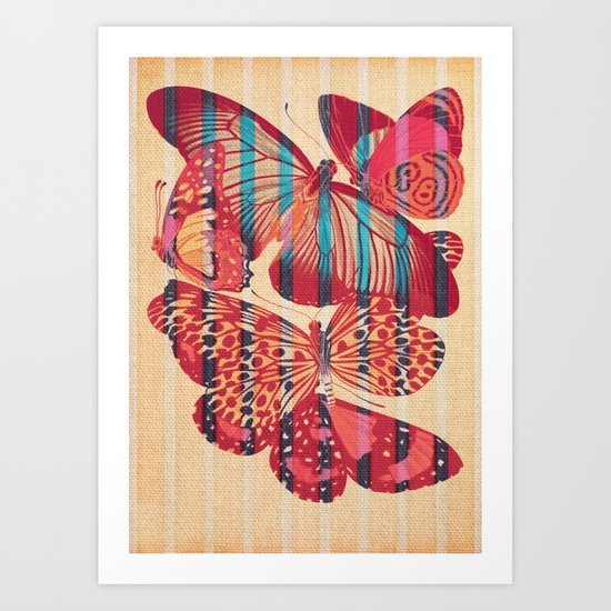 Butterflies in Strips Art Print
