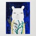 polar bear with botanical illustration in blue by pinknounou