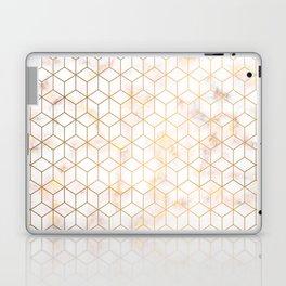 Geometric Gold Pattern on Gold Marble Laptop & iPad Skin