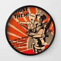 propaganda Wall Clocks featuring Propaganda Series by Alex.Raveland...robot.design.digital.art