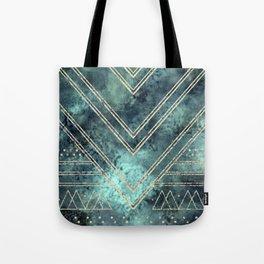 Jade Chevron Gold Tote Bag