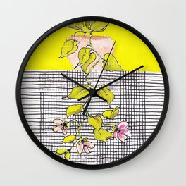 Tender, little hanging plant with stripes and checks, no. 24 Wall Clock