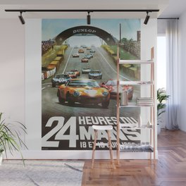 1966 Le Mans poster, Race poster, car poster, garage poster Wall Mural