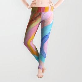 Rainbow lines abstract Leggings