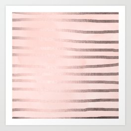 Rosegold Pink Stripes Art Print