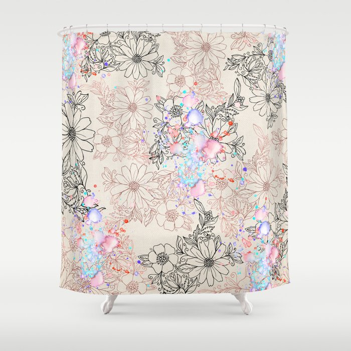 Attirant Modern Vintage Black Rose Gold Watercolor Floral Shower Curtain