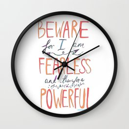 BEWARE, FEARLESS, POWERFUL: FRANKENSTEIN by MARY SHELLEY Wall Clock
