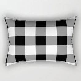Black and White Buffalo Plaid Rectangular Pillow