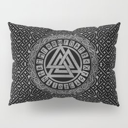 Silver Metallic Valknut Symbol on Celtic Pattern Pillow Sham