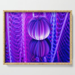 crystal ball reflect in red and blue. Serving Tray