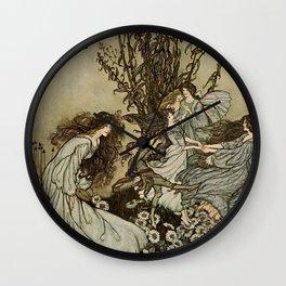 """Dancing With the Fairies"" by Arthur Rackham Wall Clock"