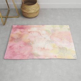 Watercolor Pink Floral Background Rug