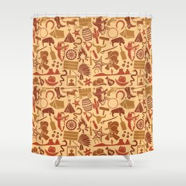 wild west icons set seamless background Shower Curtain